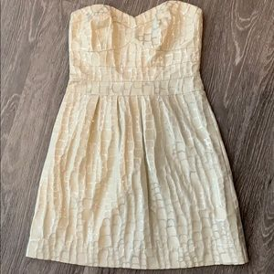 American Eagle Cream Strapless Dress
